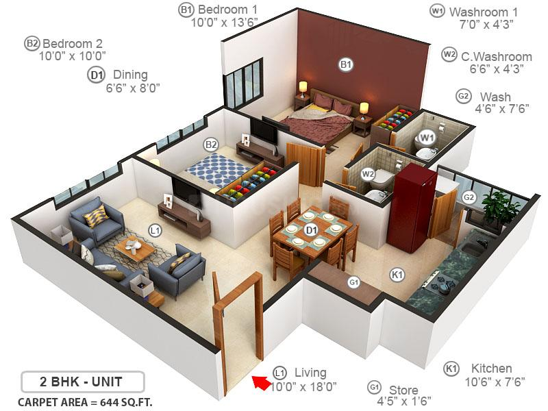 Vivaan Eminence Floor Plan: 2 BHK Unit with Built up area of 644 sq.ft 1
