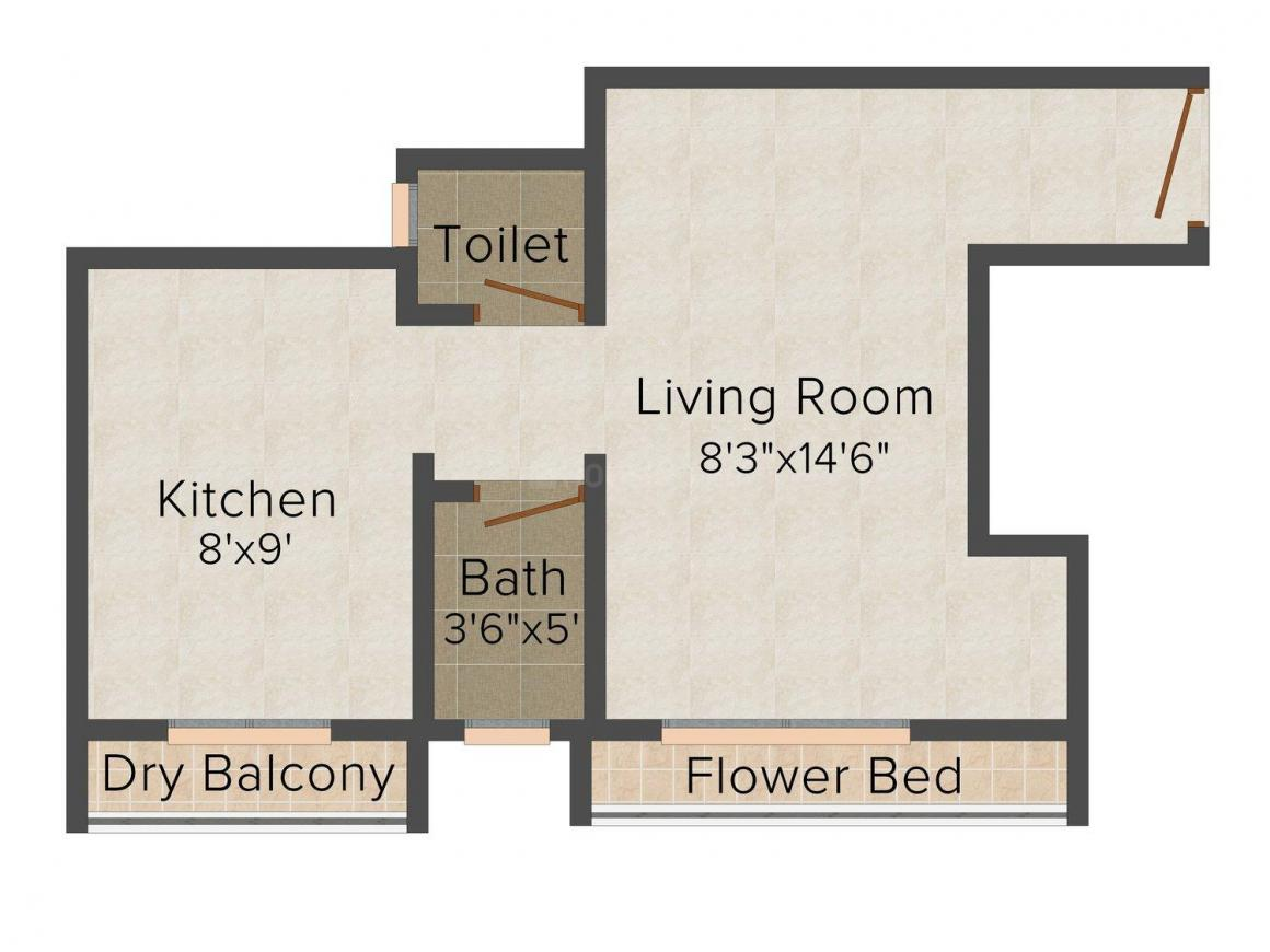 Floor Plan Image of 475.0 - 665.0 Sq.ft 1 RK Apartment for buy in Topaz Height