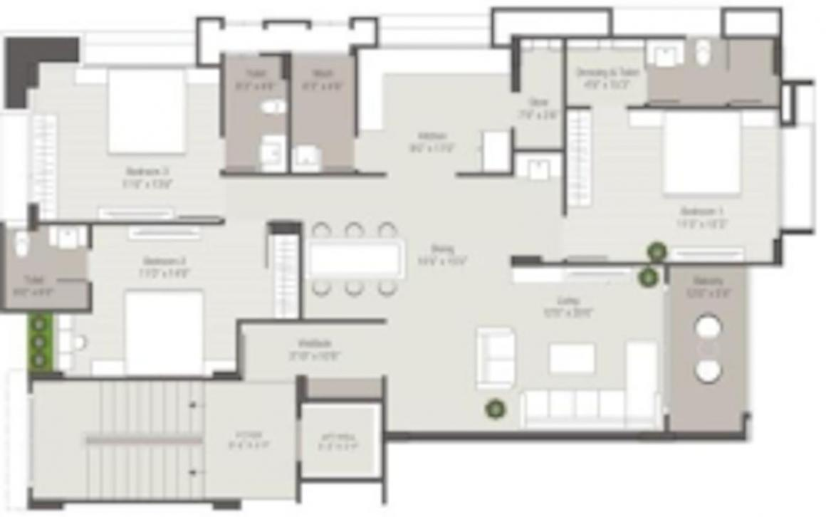 Swastik Shrimay Residency Floor Plan: 3 BHK Unit with Built up area of 2210 sq.ft 1