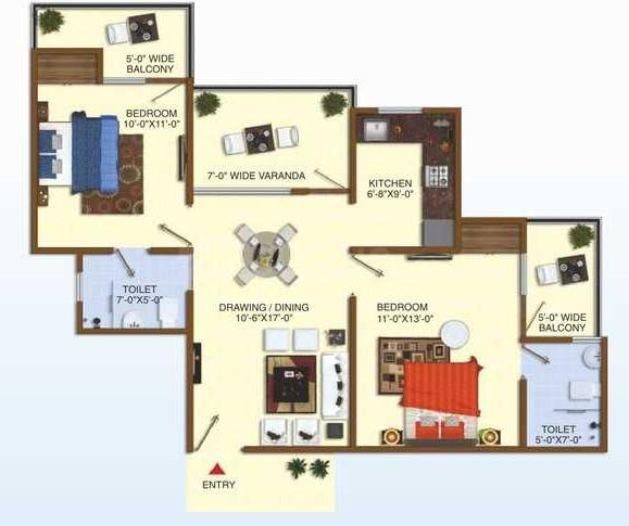 Uninav Heights Phase 2 Floor Plan: 2 BHK Unit with Built up area of 1095 sq.ft 1