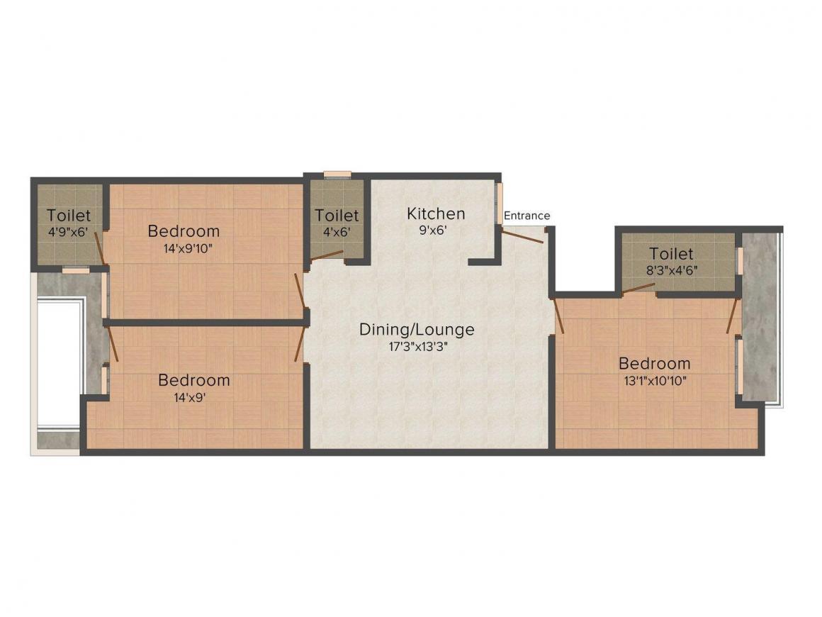 Floor Plan Image of 1167.0 - 1188.0 Sq.ft 3 BHK Apartment for buy in  Vibrant Pinkcity Krishna Sarovar