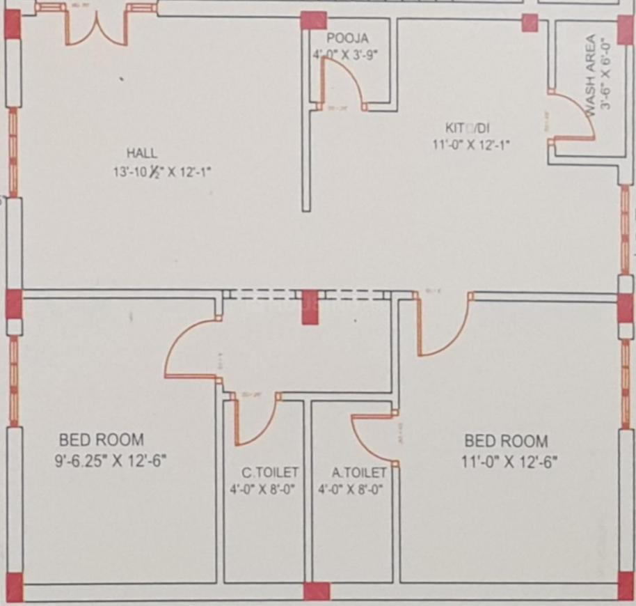Sharanya Elite Floor Plan: 2 BHK Unit with Built up area of 1030 sq.ft 1