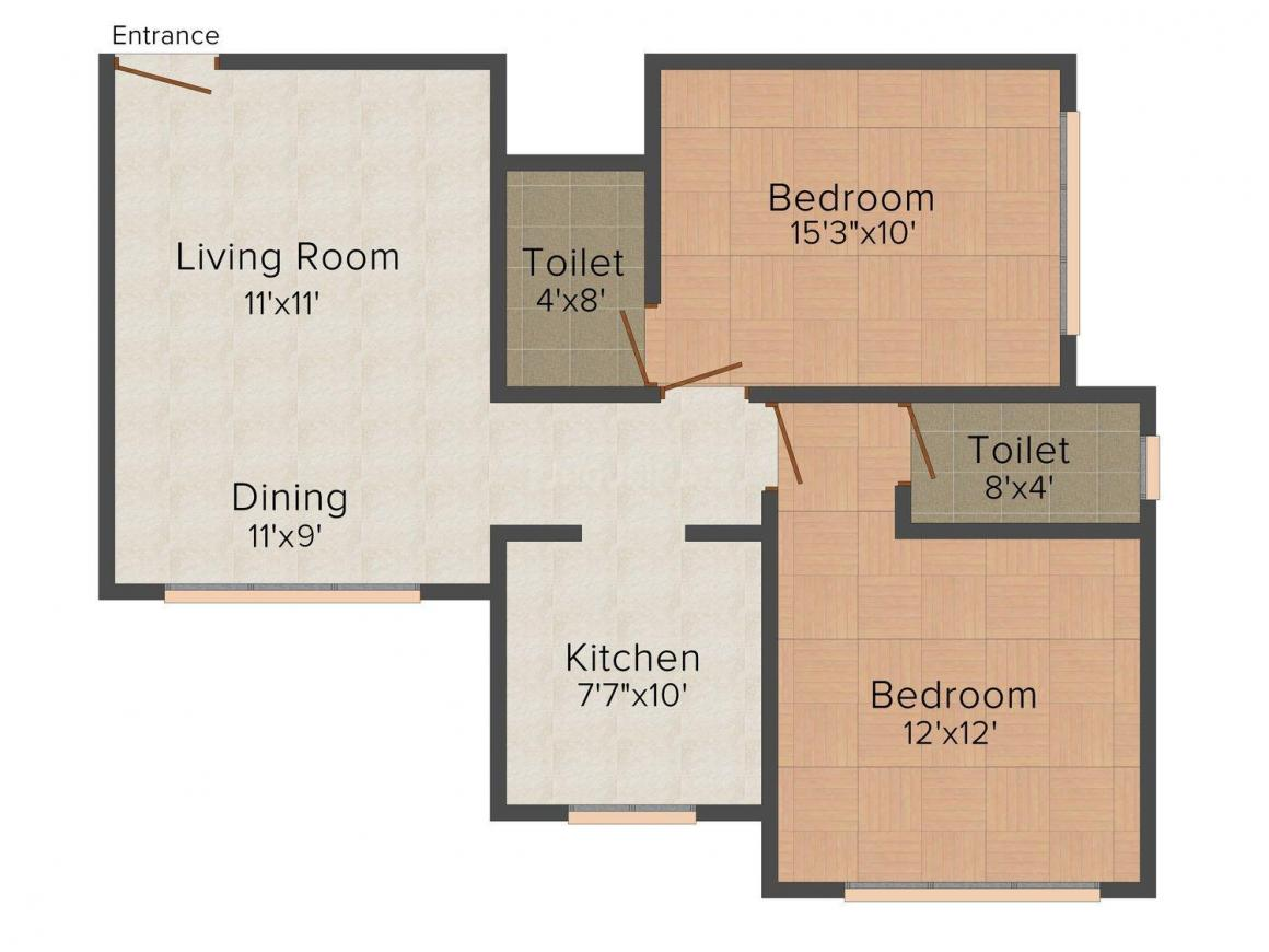 Floor Plan Image of 0 - 1035.0 Sq.ft 2 BHK Apartment for buy in Re Cypress
