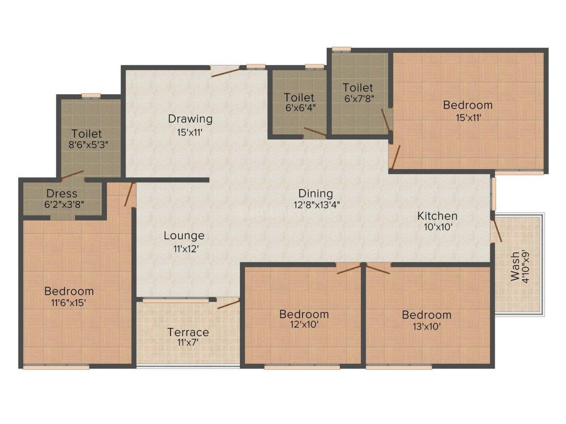 Floor Plan Image of 1250 - 2000 Sq.ft 3 BHK Apartment for buy in Signature 99