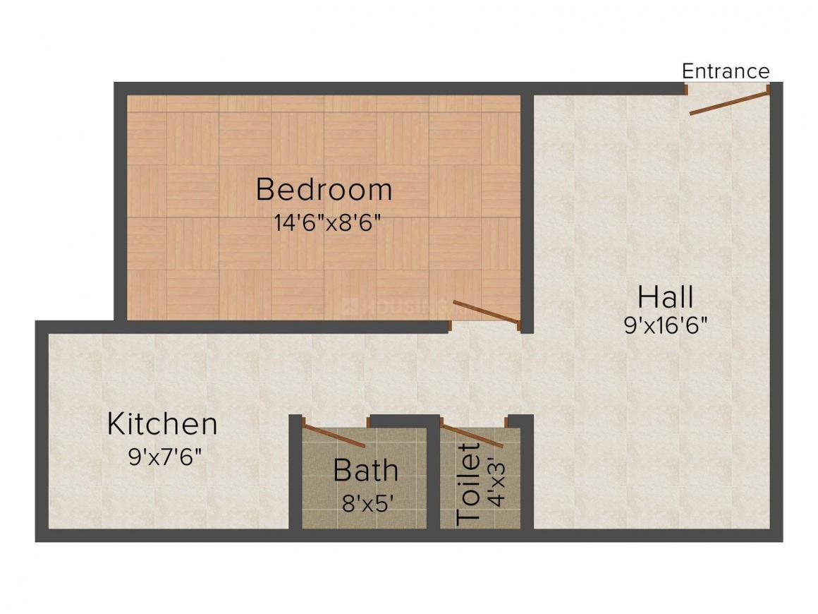 Floor Plan Image of 0 - 555.0 Sq.ft 1 BHK Apartment for buy in Vedant Vignesh Plaza