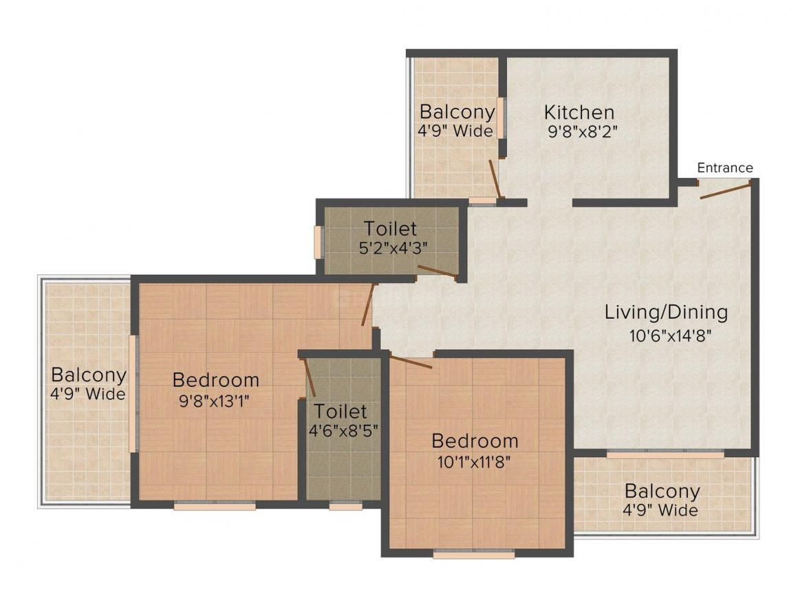 Floor Plan Image of 0 - 1190.0 Sq.ft 2 BHK Apartment for buy in Dhanashree Jewel