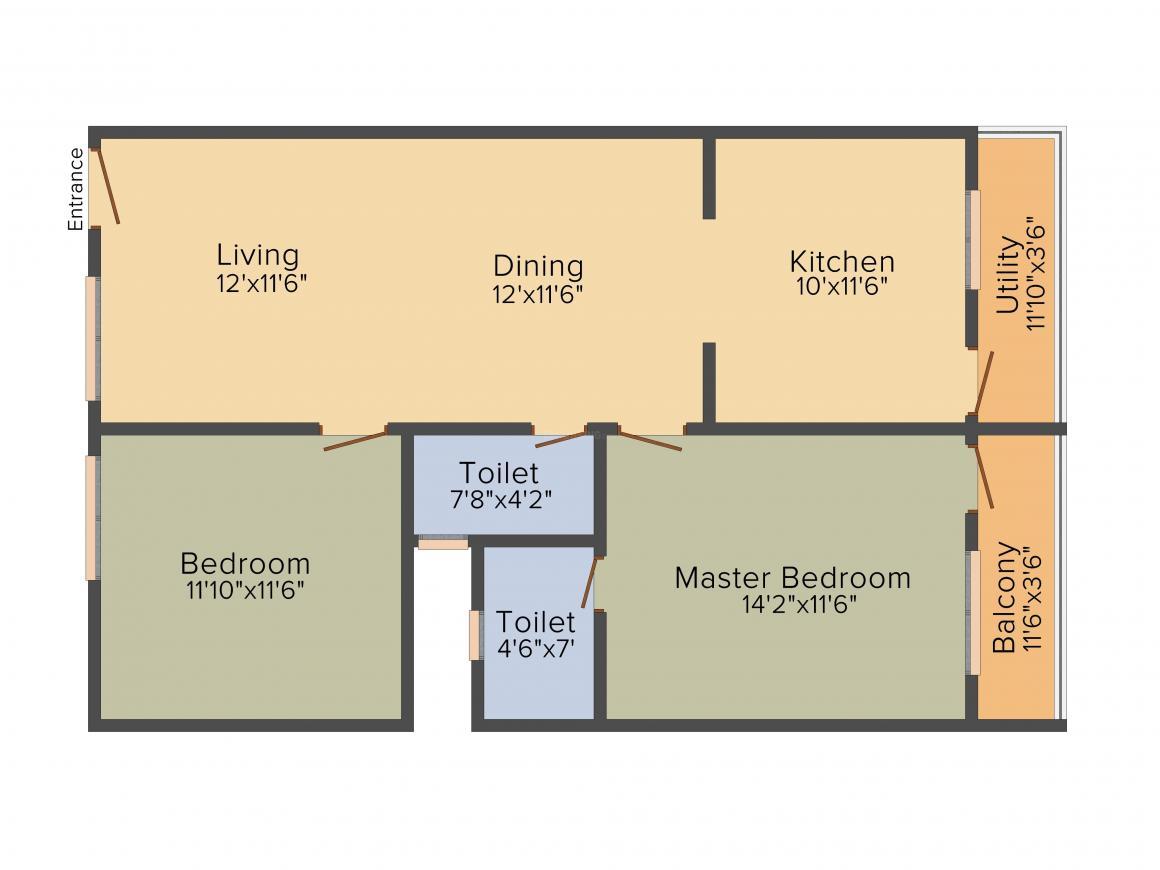 Amigo Sri Sai Vintage Floor Plan: 2 BHK Unit with Built up area of 1161 sq.ft 1