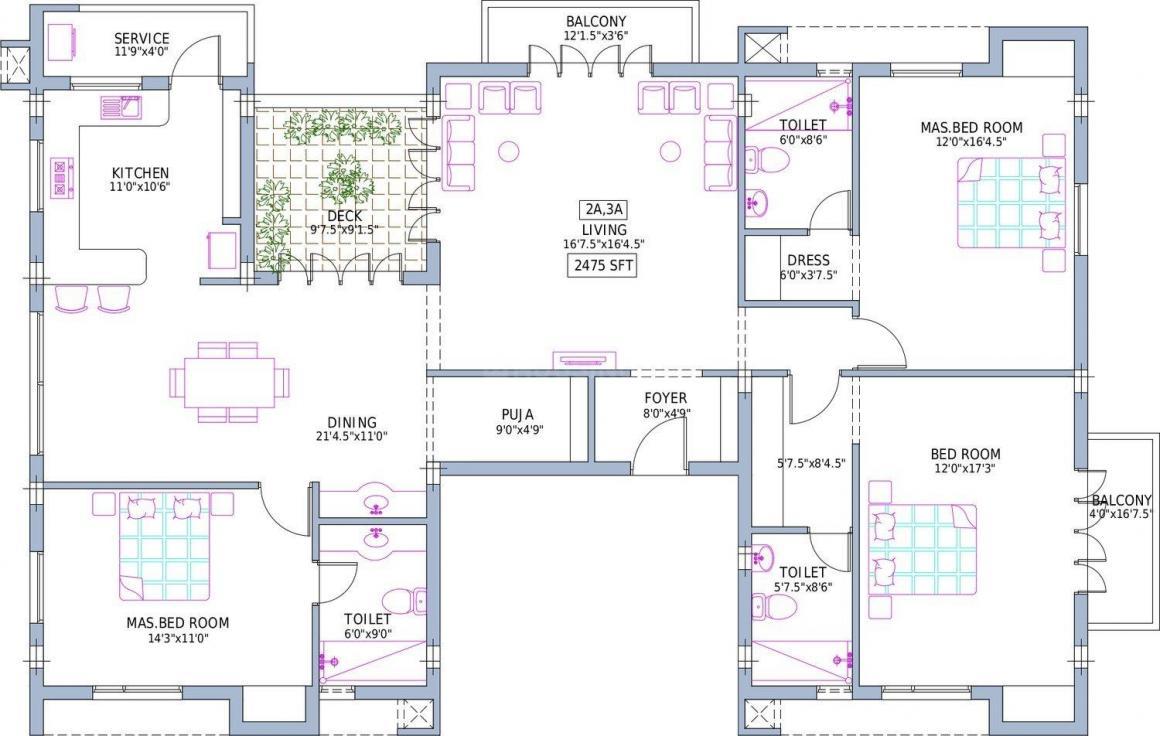 Pushkar Villa Christos Floor Plan: 3 BHK Unit with Built up area of 2475 sq.ft 1