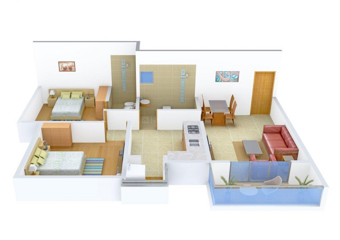 Floor Plan Image of 0 - 800.0 Sq.ft 2 BHK Apartment for buy in Rakholiya Siddhi Palace