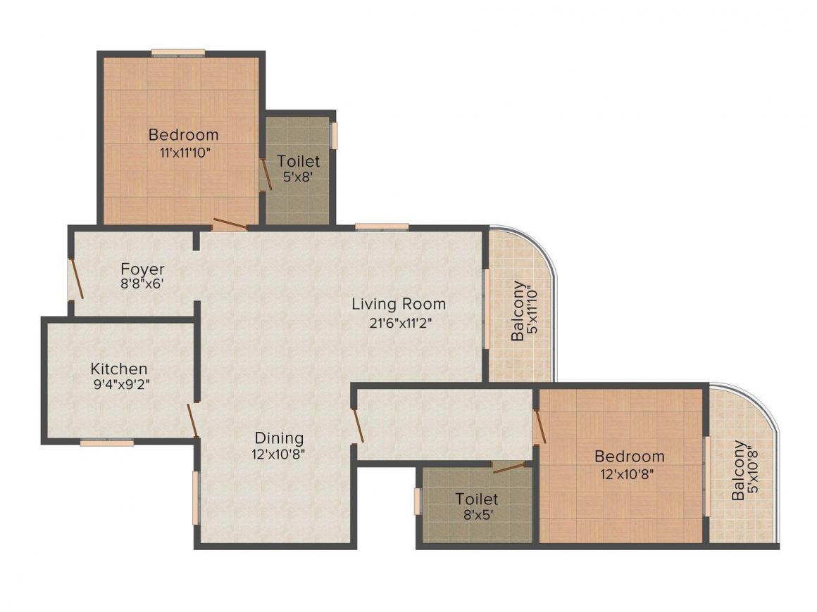 Floor Plan Image of 1150 - 1685 Sq.ft 2 BHK Apartment for buy in Presidency Viva
