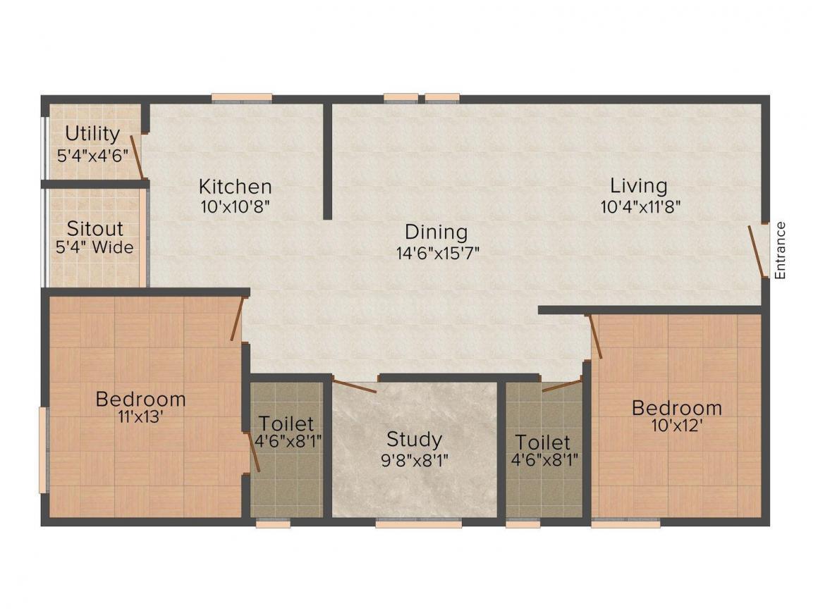 Floor Plan Image of 1094 - 1890 Sq.ft 2 BHK Apartment for buy in Garuda Star Field