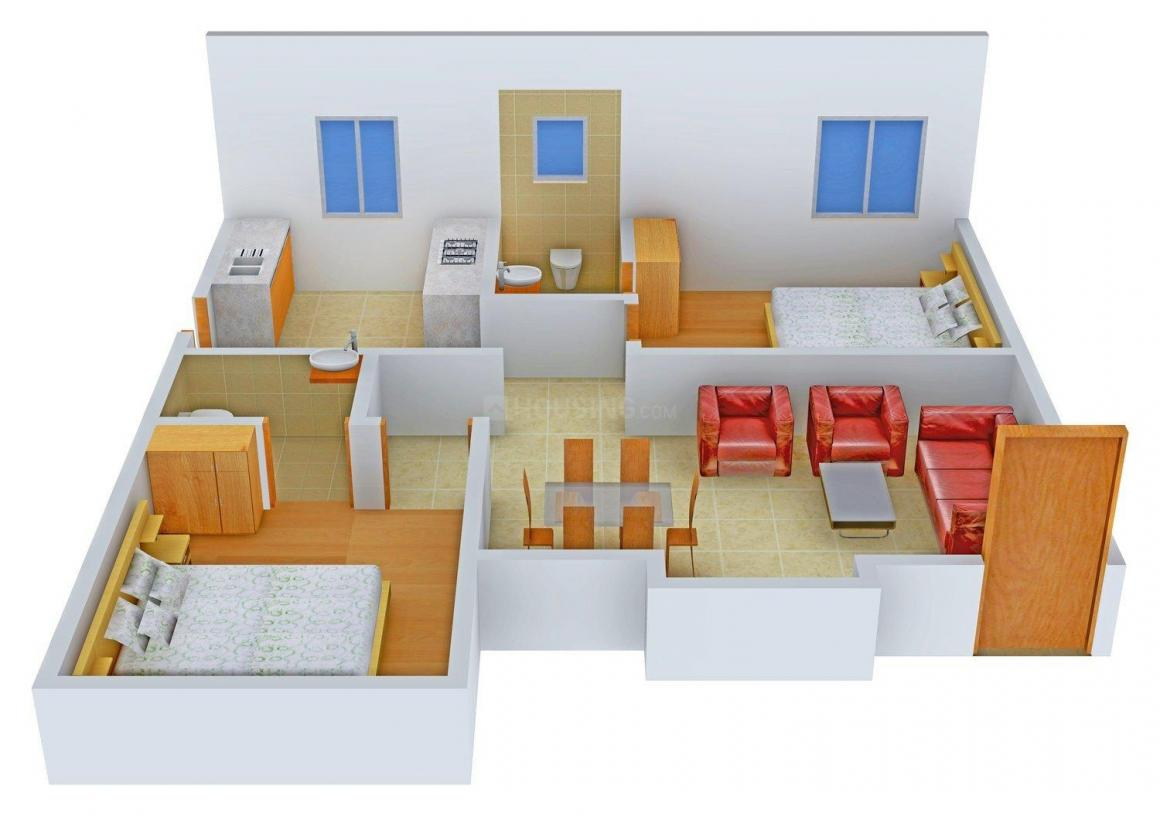 Floor Plan Image of 800.0 - 934.0 Sq.ft 2 BHK Apartment for buy in Nila Tech Pranav