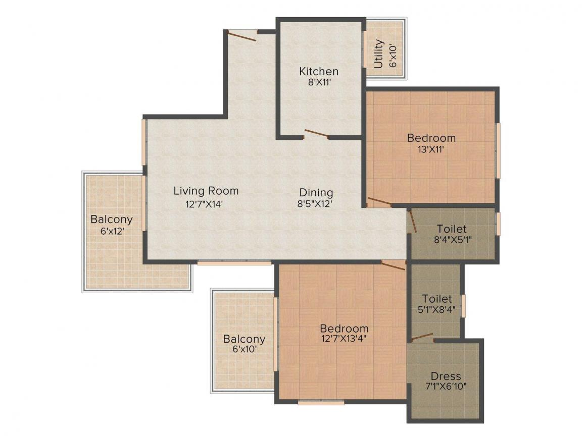 Puri Emerald Bay Floor Plan: 2 BHK Unit with Built up area of 1550 sq.ft 1