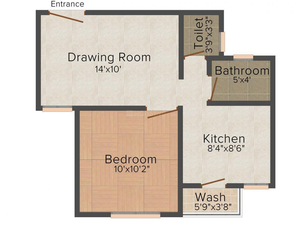 Skyline Ganesh Gold Floor Plan: 1 BHK Unit with Built up area of 765 sq.ft 2