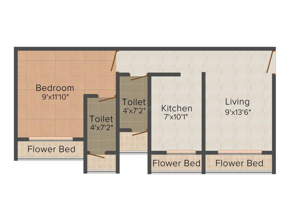 Floor Plan Image of 725.0 - 1044.0 Sq.ft 1 BHK Apartment for buy in Shree Shree Vrushti