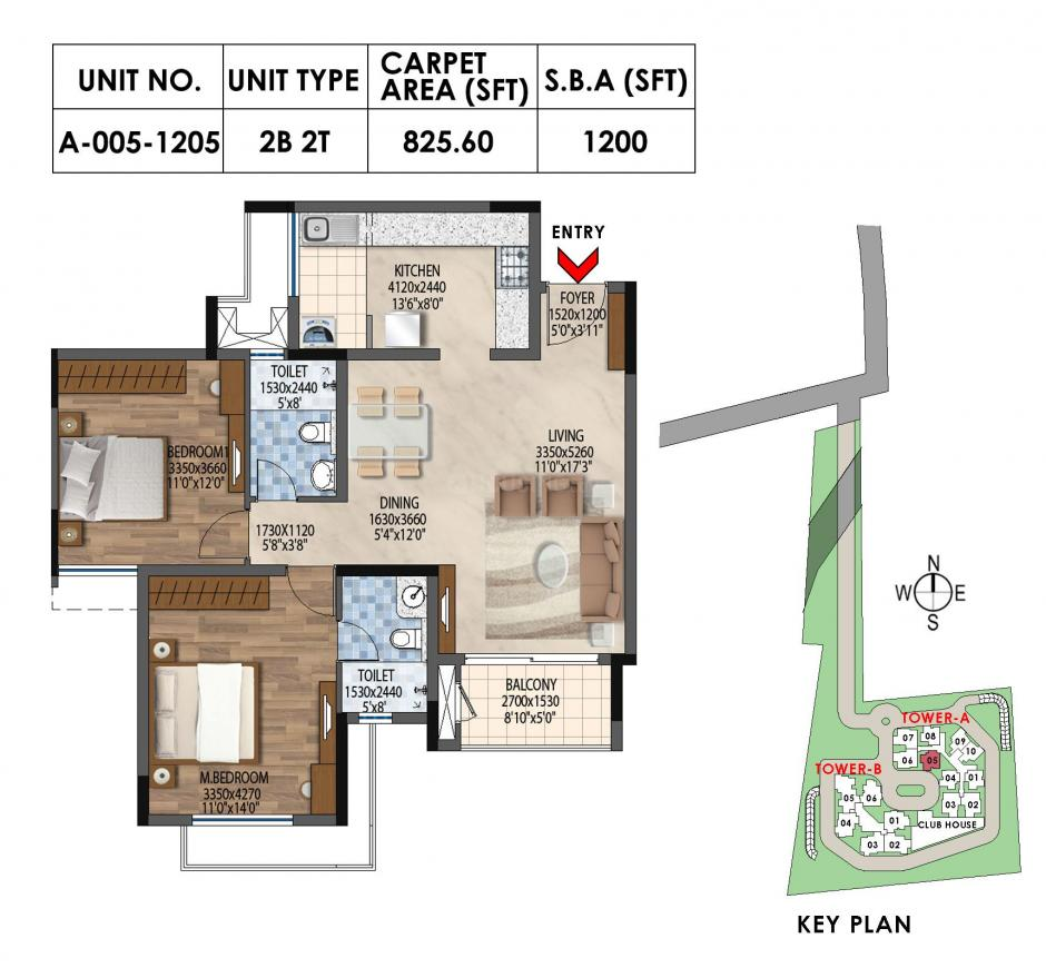 Bollineni Astra Floor Plan: 2 BHK Unit with Built up area of 1200 sq.ft 1