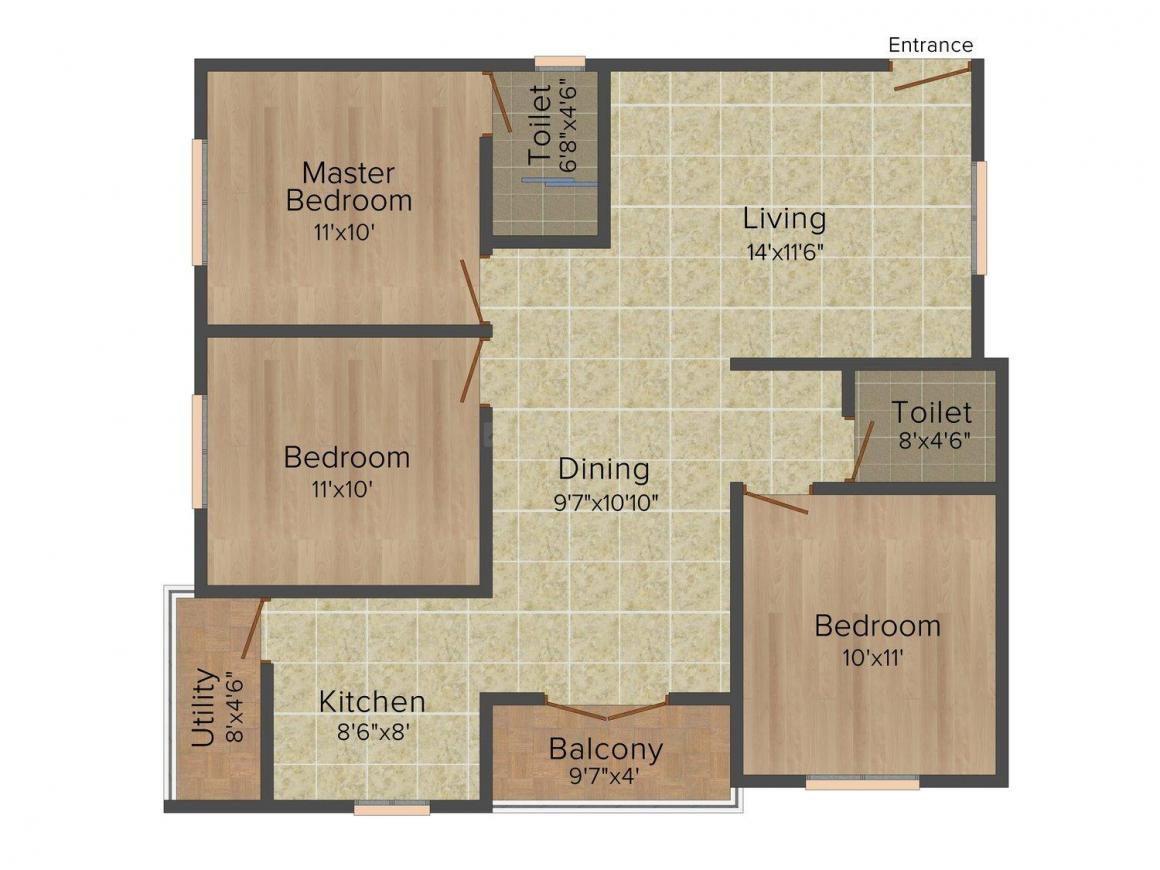 Floor Plan Image of 975.0 - 1290.0 Sq.ft 2 BHK Apartment for buy in DS-MAX Seasons