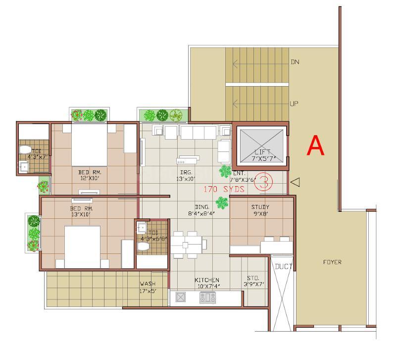 Takshashila Crest Floor Plan: 2 BHK Unit with Built up area of 170 sq.yd 1