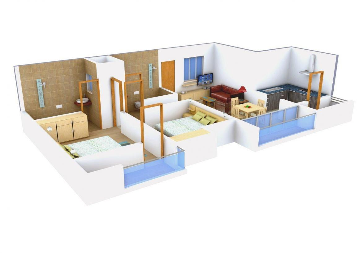 Abhinitha Foundation Vikas Vibhav Floor Plan: 2 BHK Unit with Built up area of 870 sq.ft 1