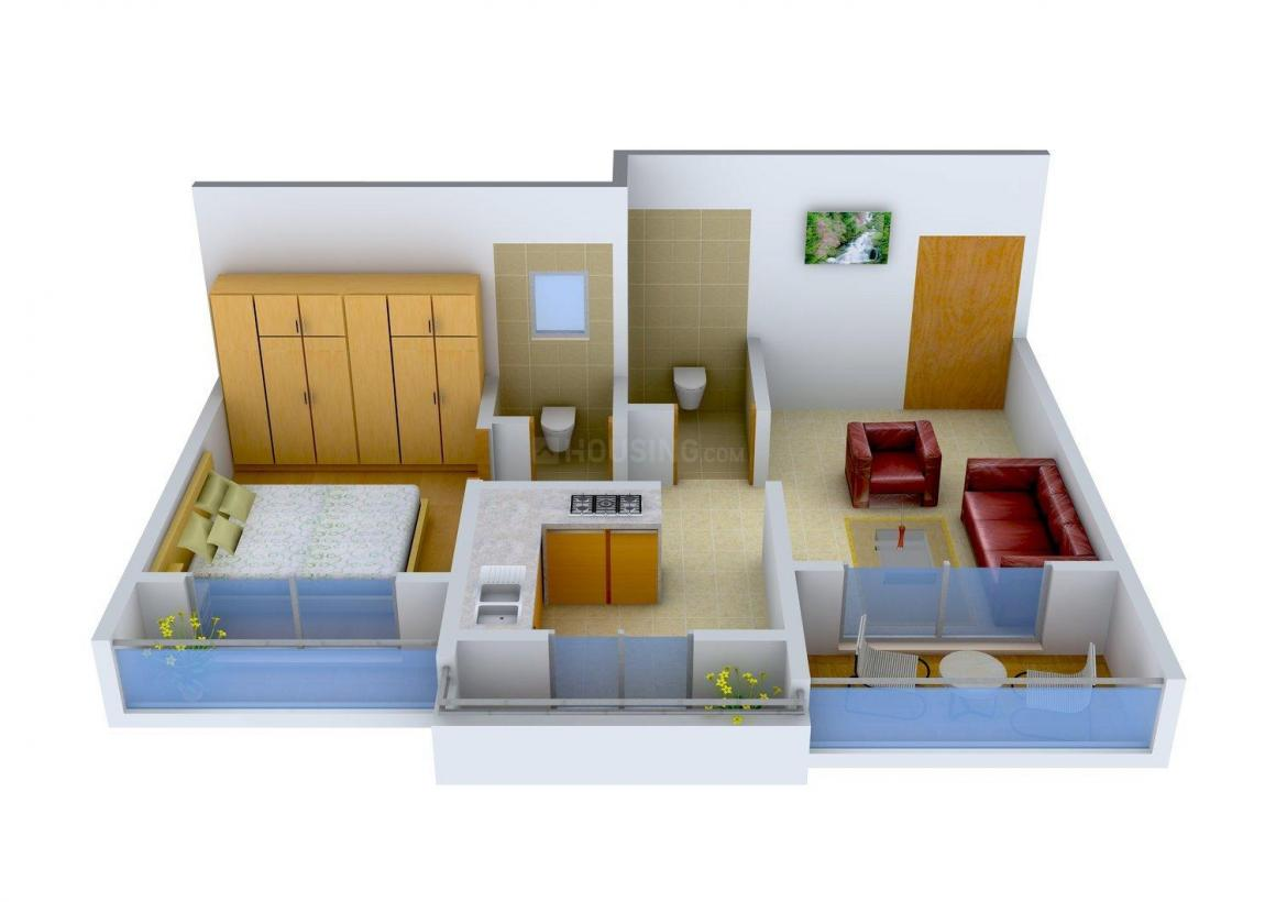 Floor Plan Image of 667.0 - 911.0 Sq.ft 1 BHK Apartment for buy in Coral