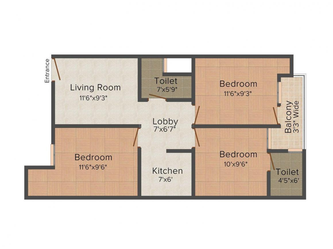 Goyal Apartment - 2 Floor Plan: 3 BHK Unit with Built up area of 702 sq.ft 1