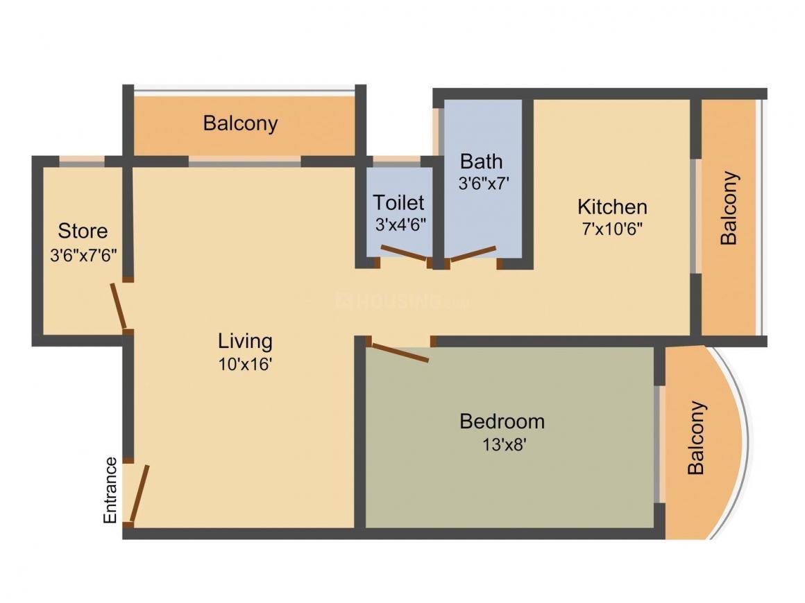 Floor Plan Image of 810 - 1785 Sq.ft 1 BHK Apartment for buy in Raj Chamunda Padmavati