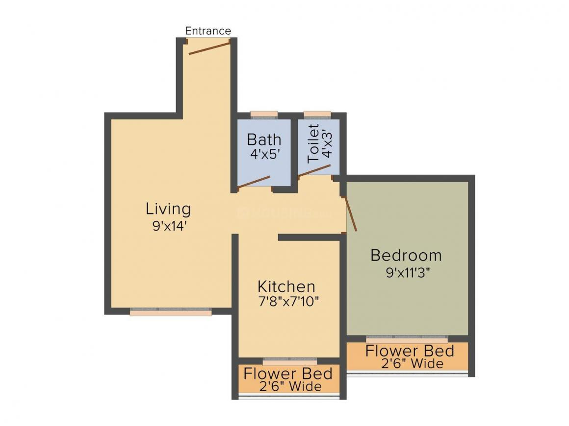 Floor Plan Image of 670.0 - 945.0 Sq.ft 1 BHK Apartment for buy in Shagun Sai Aangan