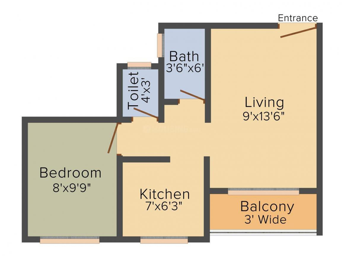 Floor Plan Image of 315.0 - 470.0 Sq.ft 1 RK Apartment for buy in Shree Samarth Golden Plaza