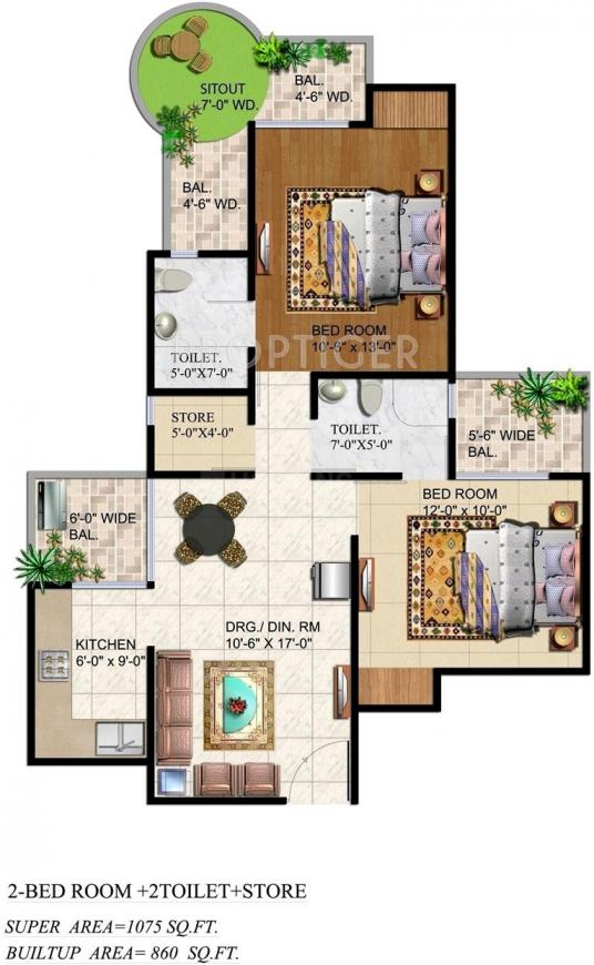 Ajnara Grand Heritage Floor Plan: 2 BHK Unit with Built up area of 1075 sq.ft 1