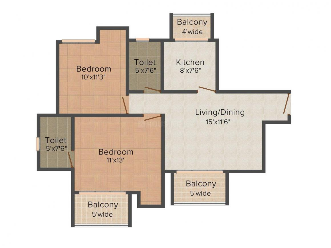 Sidhartha NCR Greens Floor Plan: 2 BHK Unit with Built up area of 990 sq.ft 1
