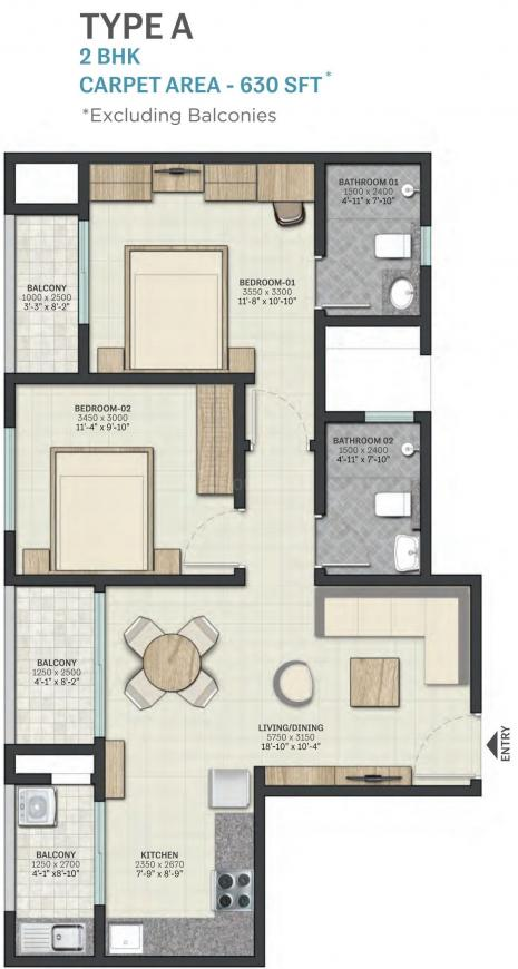 Sobha Dream Heights Floor Plan: 2 BHK Unit with Built up area of 630 sq.ft 1