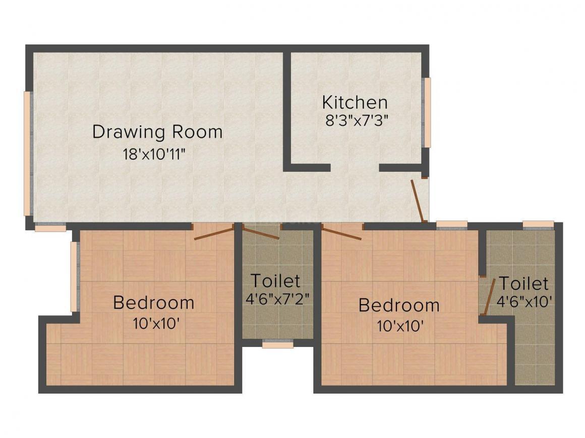 Floor Plan Image of 0 - 1000 Sq.ft 2 BHK Independent Floor for buy in Gupta Floors B - 1265