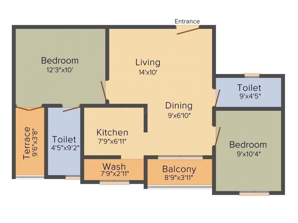 Floor Plan Image of 915.0 - 1300.0 Sq.ft 2 BHK Apartment for buy in GVSPL Raajguru