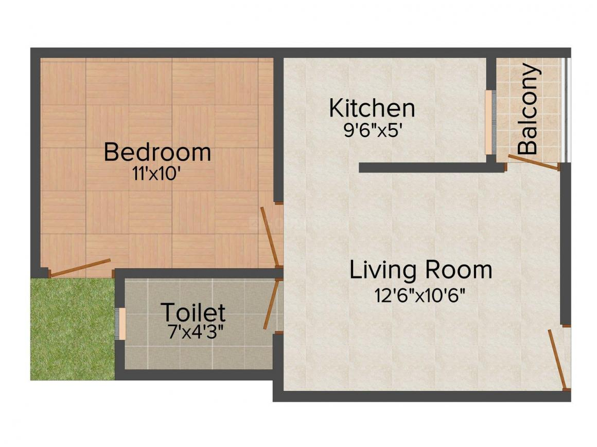 Investors Aashiyana Mansion Floor Plan: 1 BHK Unit with Built up area of 550 sq.ft 1