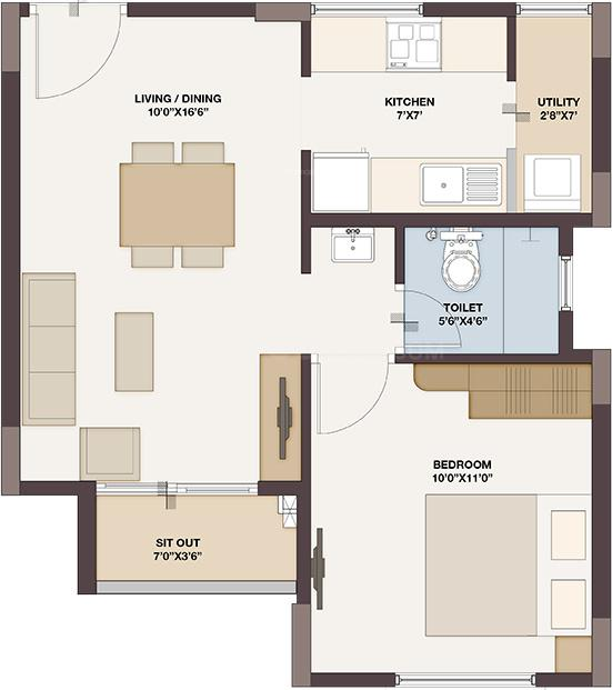 Floor Plan Image of 605.0 - 1380.0 Sq.ft 1 BHK Apartment for buy in Provident The Tree