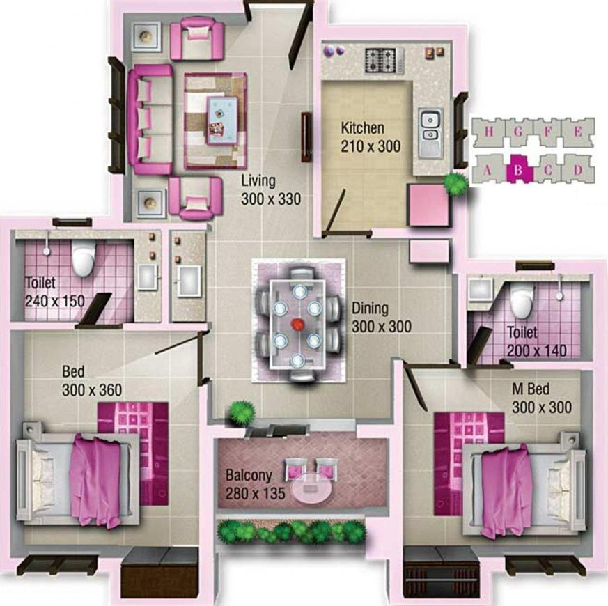 Jewel Capital Floor Plan: 2 BHK Unit with Built up area of 920 sq.ft 1