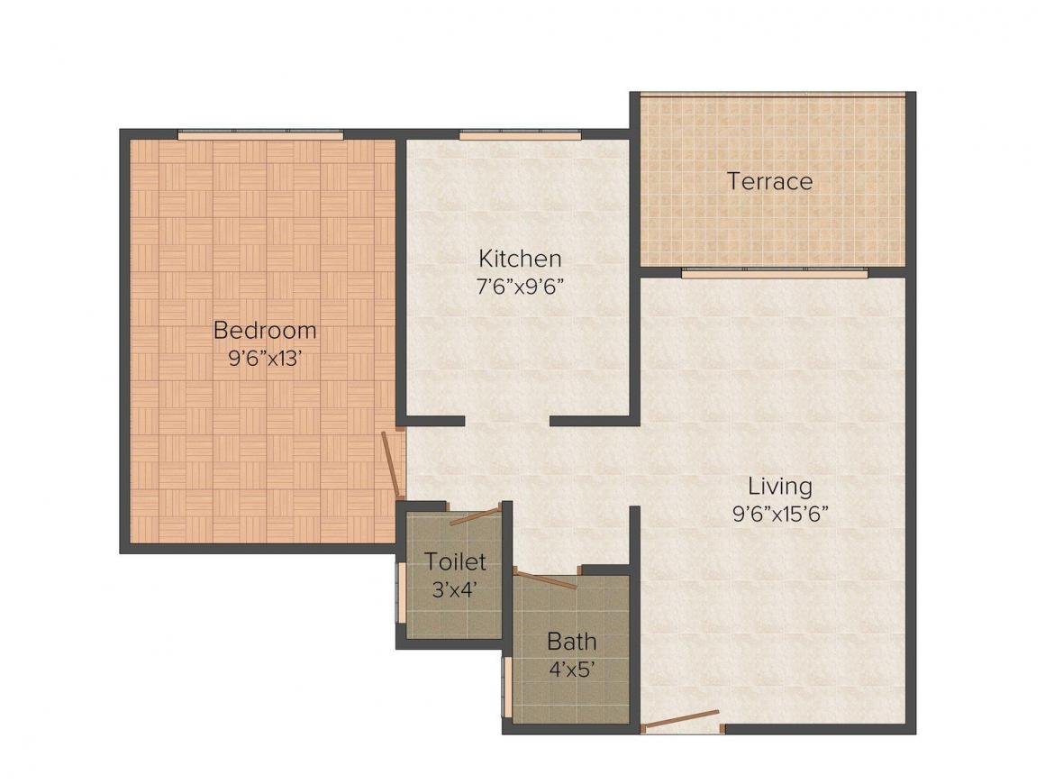 Floor Plan Image of 0 - 670.0 Sq.ft 1 BHK Apartment for buy in Anjali Chhaya