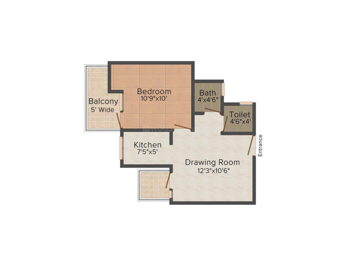 Floor Plan Image of 690.0 - 1000.0 Sq.ft 1 BHK Apartment for buy in M.S Vrindavan Palms
