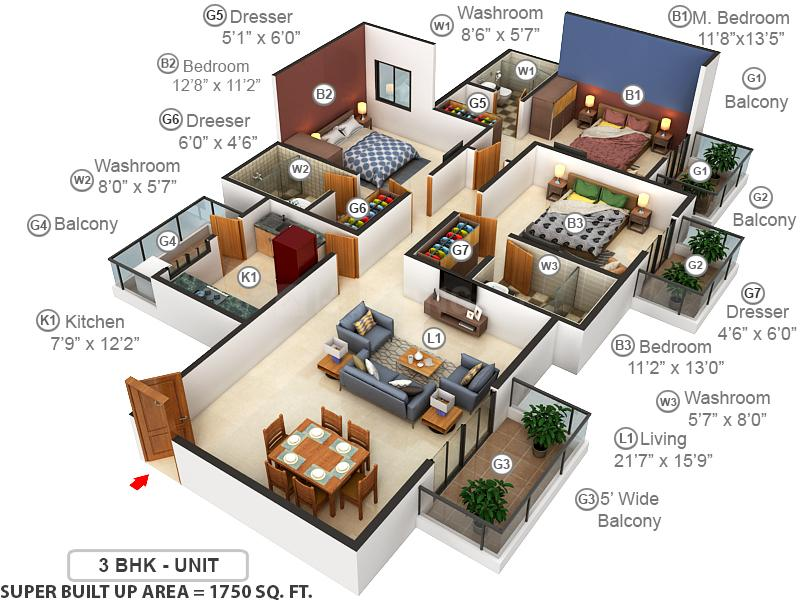 ATS Pristine Floor Plan: 3 BHK Unit with Built up area of 1750 sq.ft 1
