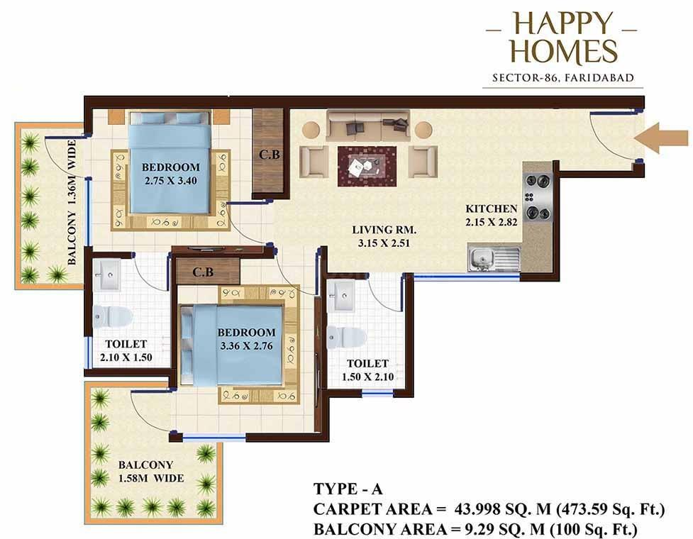 Adore Happy Homes Floor Plan: 2 BHK Unit with Built up area of 474 sq.ft 1