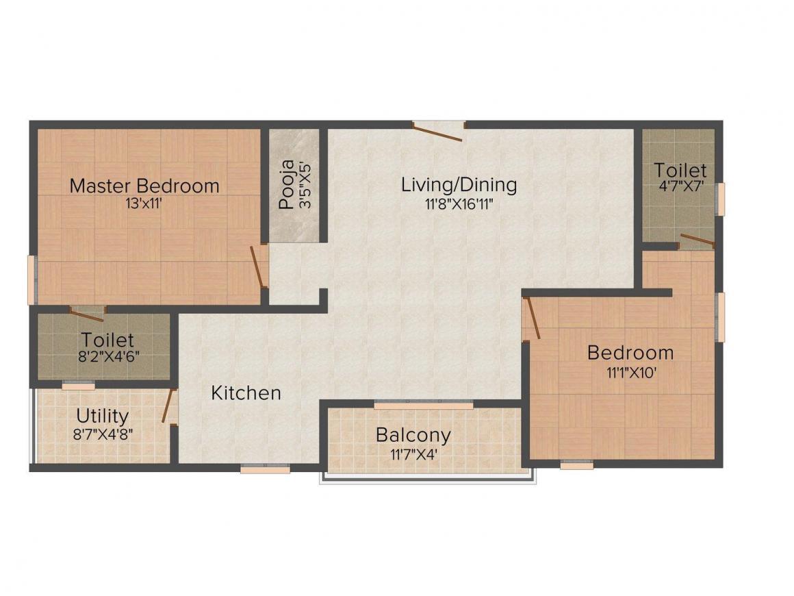 Zen Infra Floor Plan: 2 BHK Unit with Built up area of 1131 sq.ft 1