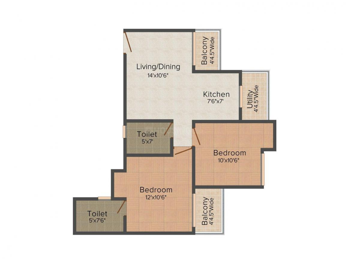 Sethi Max Royal Floor Plan: 2 BHK Unit with Built up area of 895 sq.ft 1