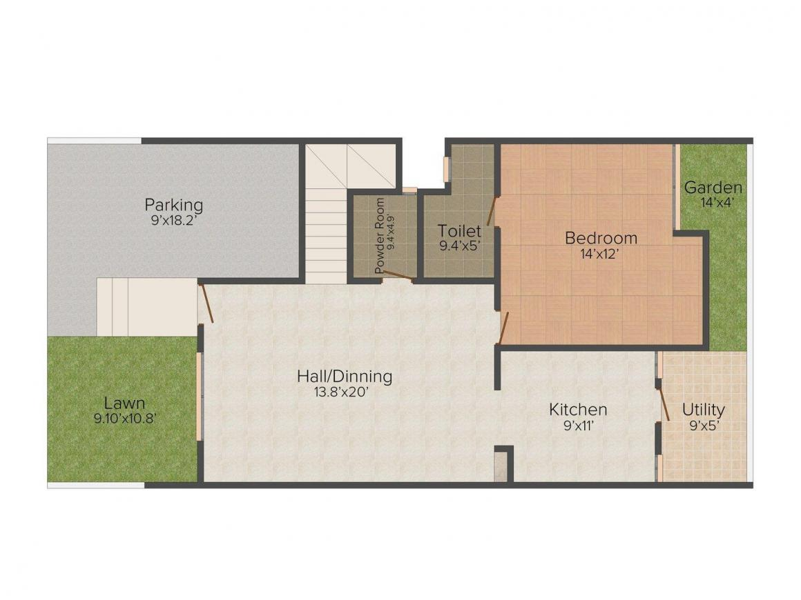 G T Capital Homes Floor Plan: 3 BHK Unit with Built up area of 1838 sq.ft 1