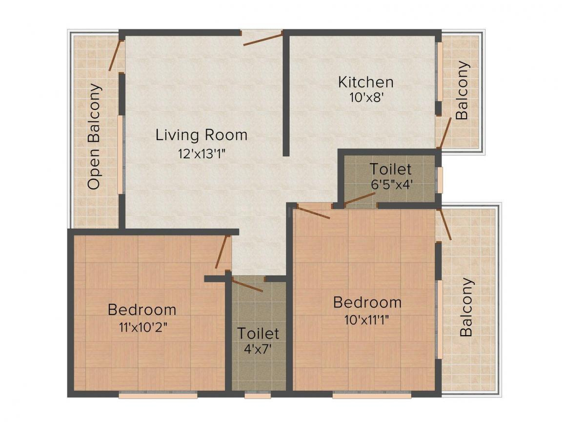 Floor Plan Image of 0 - 819 Sq.ft 2 BHK Apartment for buy in Angel's Emerald