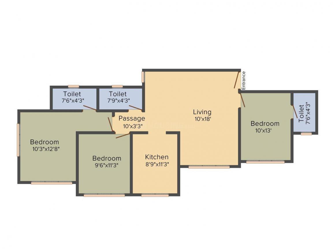 Floor Plan Image of 1155.0 - 1220.0 Sq.ft 2 BHK Apartment for buy in Amar Sahajeevan Chsl