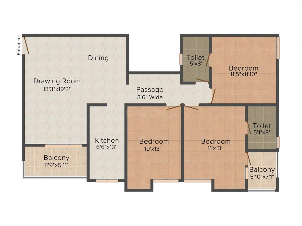 Floor Plan Image of 0 - 1490 Sq.ft 3 BHK Apartment for buy in Ashiana Rose Wood