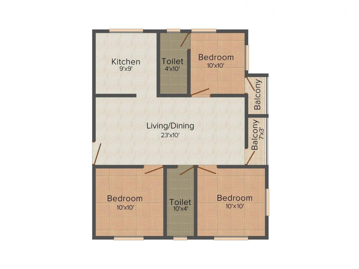 Floor Plan Image of 580.0 - 990.0 Sq.ft 2 BHK Apartment for buy in Chendur Sivabalan