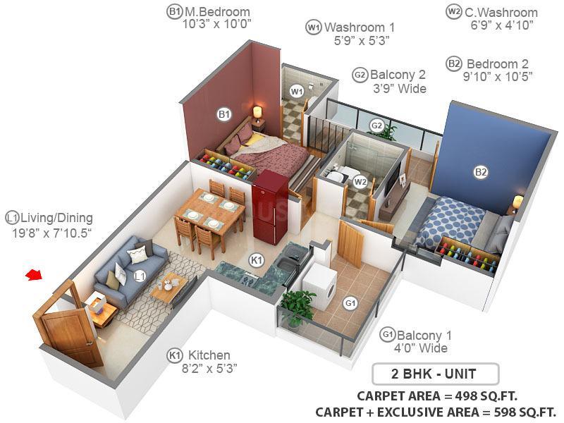 Terra Lavinium Floor Plan: 2 BHK Unit with Built up area of 498 sq.ft 1