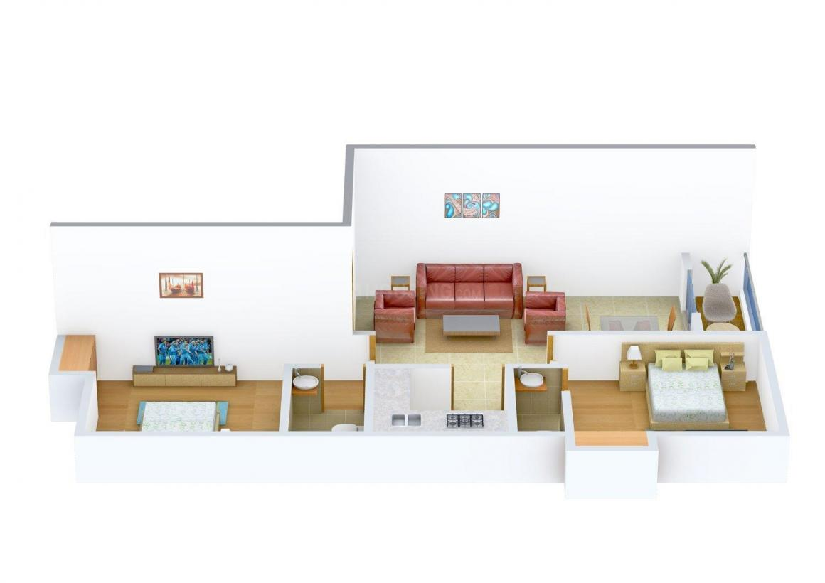 Floor Plan Image of 1010.0 - 1280.0 Sq.ft 2 BHK Apartment for buy in Udyog Tolly