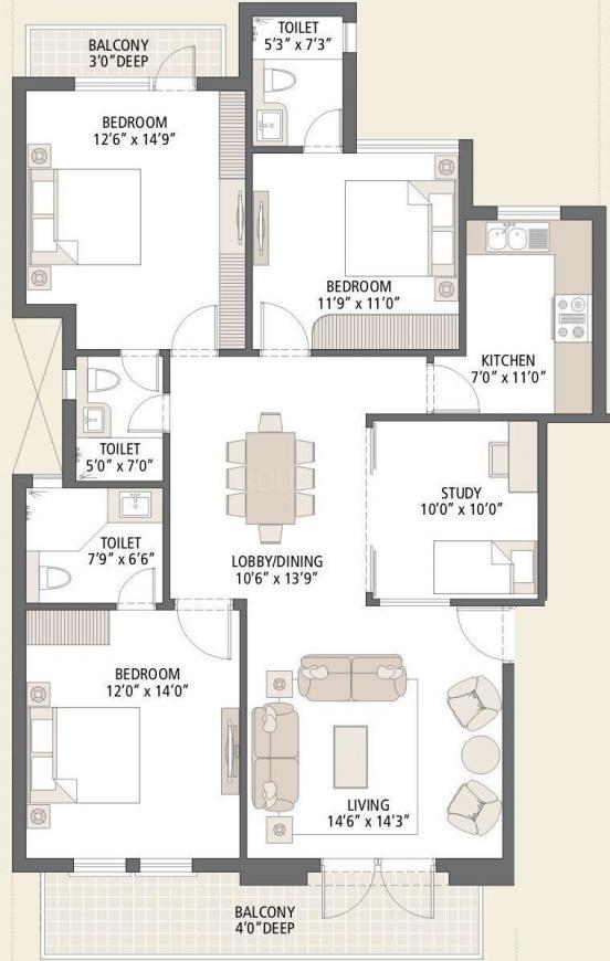 Emaar Emerald Floors Premier Phase 3 Floor Plan: 3 BHK Unit with Built up area of 1650 sq.ft 1